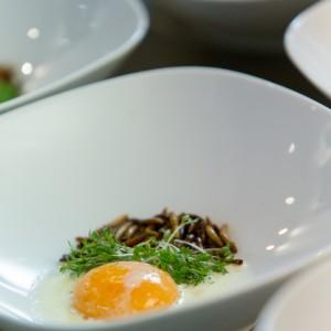 Poschiertes Ei mit Mehlwurm